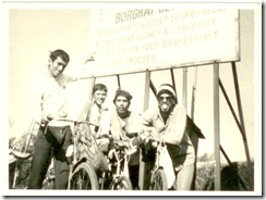 Dec 1, 1984 - Sanju showing board of caution before climbing down Borghat. In those days, there was no expressway but just a two lane road including in the ghats!!! L-R - Sanju, Rajan, Ashish and Vallabh